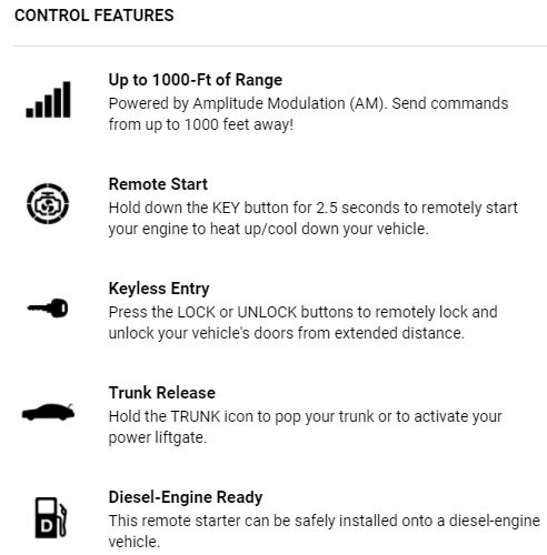 All-in-one remote start system Includes two 1000-ft range remotes